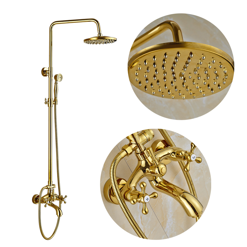 Golden Finish Bathroom Shower Faucet Double Handle Mixer Tap with Hand Shower Tub Mixer Tap thermostatic valve mixer tap w hand shower tub spout tub faucet chrome finish