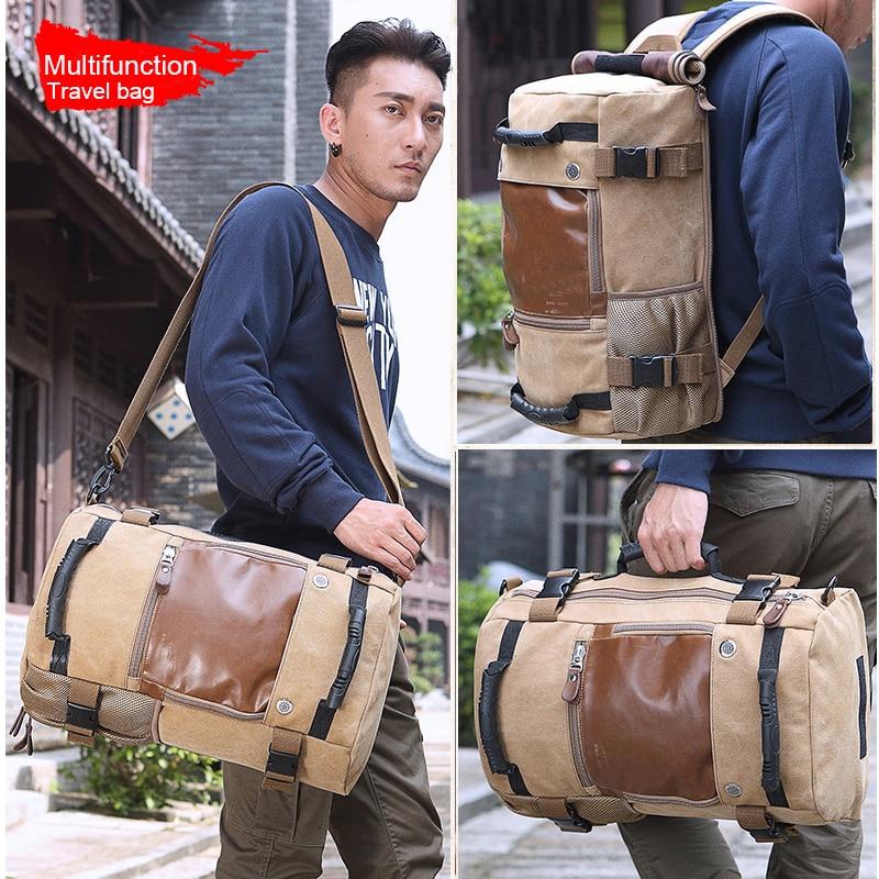 KAKA Large Capacity Function Travel Canvas Backpack Male Waterproof Computer Causal Men Women Backpacks Duffel Shoulder