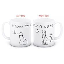 drop shipping 11oz how to draw a cat coffee mug creative milk tea cup mugs best gift  for your friends недорго, оригинальная цена