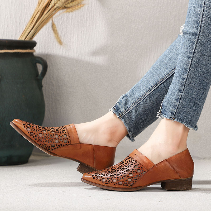 Artdiya Original Summer New Retro Genuine Leather Shoes Thick Heels Comfortable Hollow-out Handmade Women Shoes Pointed Toe