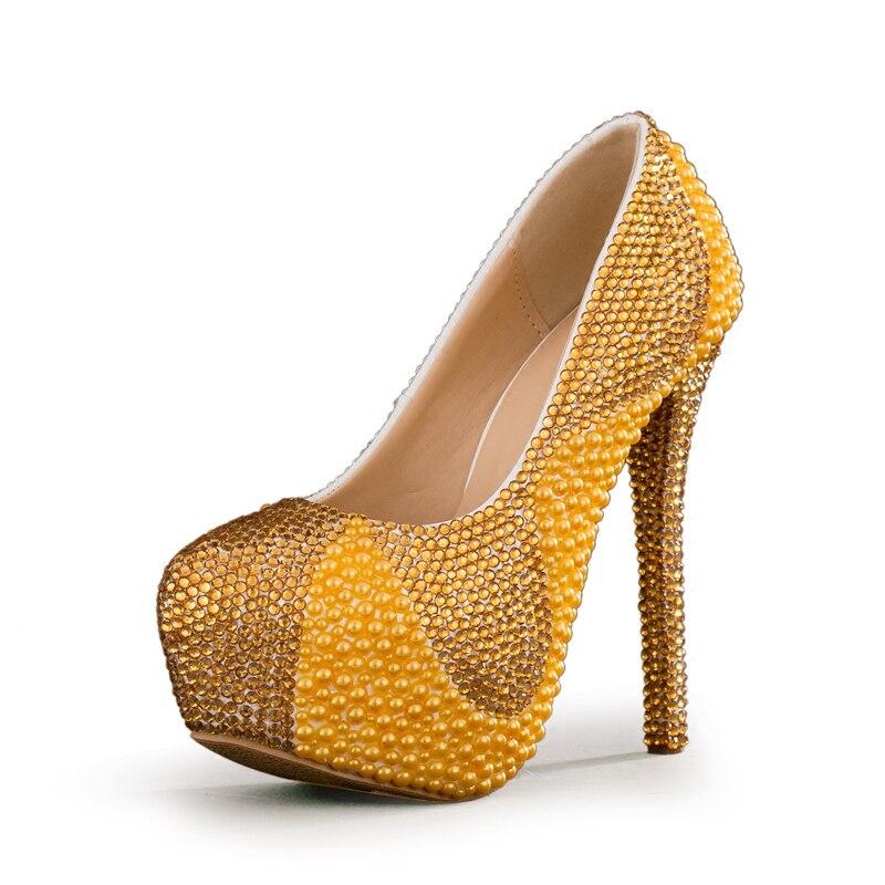 Alto De Mesa Heel 8cm Mujer 14cm Perlas Impermeable Tacón Para Novia Heel Vestido Perforación Zapatos Novia Y Agua Dorada qERAdwc