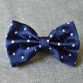 Seda azul marino lunares hombres pajarita impresa punto Bowtie para novio Gravata 9 colores 12 * 7 cm 10 unids/lote