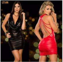 Sexy Pu Leather Latex Dress Red Shiny PVC Halter Sleeveless Catsuit Erotic Bandage Pleated Night Clubwear Costume