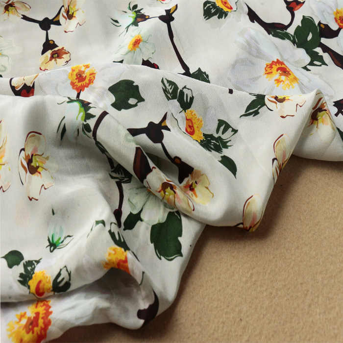 Flowers Blossom In Spring Silk Crepe De Chine Fabric By The Yard Width 45 Inch G124