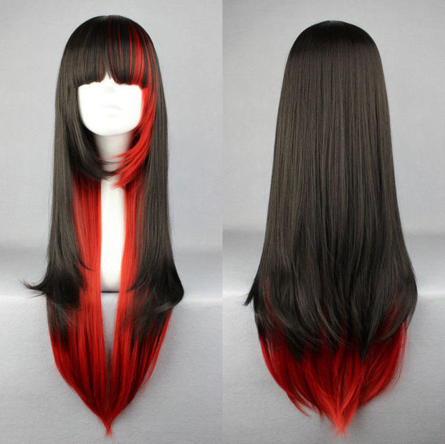 Women Girls Lolita Harajuku Long Straight WIG 68cm Cosplay Wig Party Full  Wigs Red Black Mixed Ombre Hair 528eb5e4b