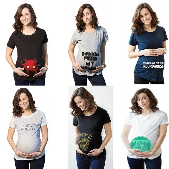 cda085ca2a11 Casual Print funny maternity pregnant T shirts Women Cotton Cute Pregnancy  Tees Maternity Clothes Summer T