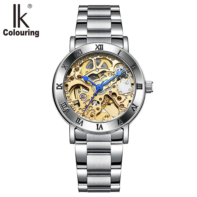 IK Colouring 36mm Case Gold Armbanduhr Damen Automatic Women Wristwatch Stainless Steel Skeleton Mechanical Watch Montre Femme