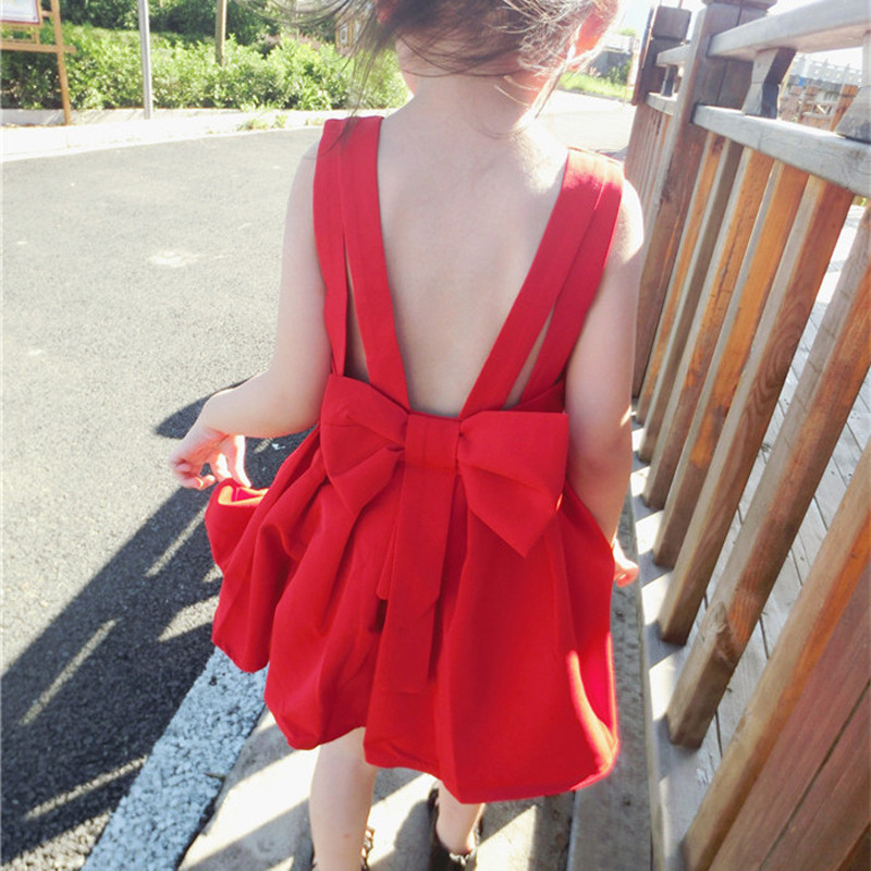 Summer cotton dress 2018 New Casual Style Fashion Fly Sleeve Girls Bow Back V Dress Girl Clothing For Children Cute Dresses summer 2017 new korean style fashion fly sleeve girls dress cute children clothing kids lace princess costume girls clothes