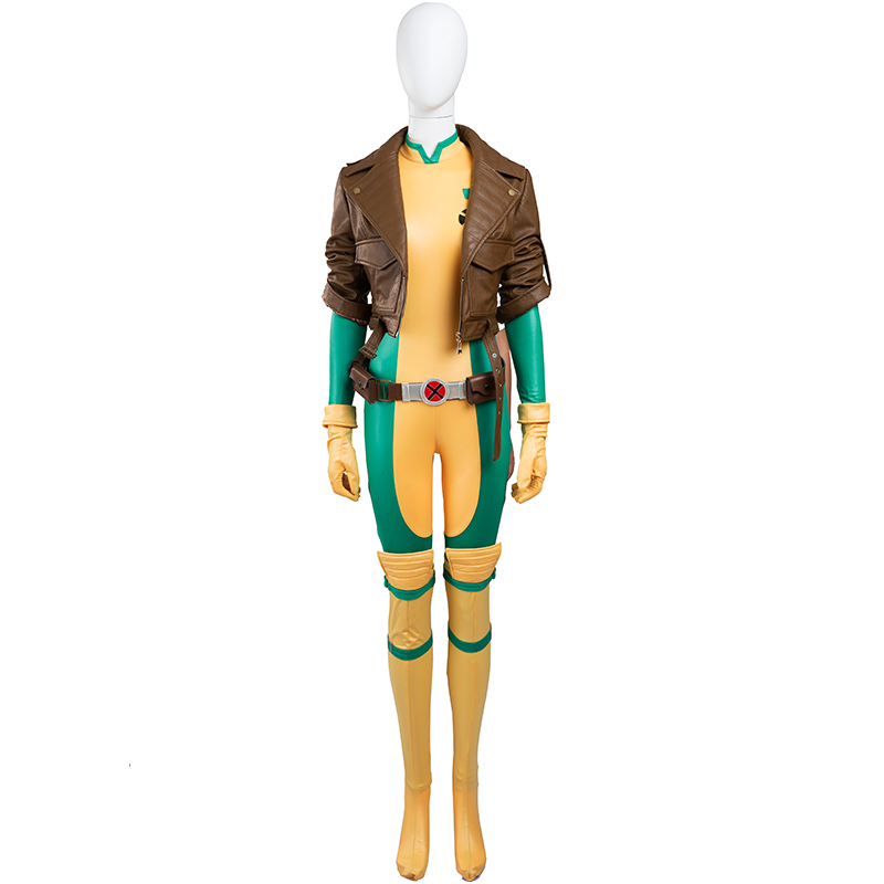 Rogue Anna Marie Cosplay Costume Jumpsuit Jacket Full Set Battle Suit Halloween Party Cosplay
