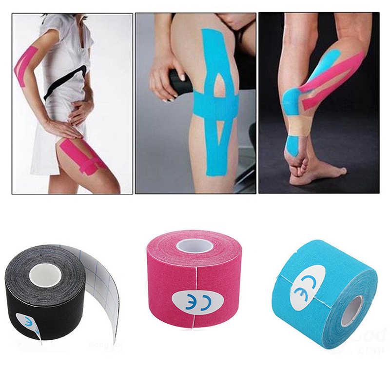 Fita adesiva elástica do rolo do algodão 5cm * 5cm esportes fita muscular bandagem cuidados cinesiologia primeiros socorros fita muscular lesão apoio