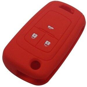 Image 2 - Jingyuqin מרחוק סיליקון רכב מפתח Case כיסוי עבור שברולט Cruze מחזיק 3 כפתורי גומי Flip מתקפל מפתח מגן