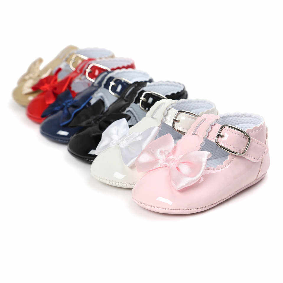 New Arrival PU Leather Baby Shoes Baby Girl Princess With Bow Crib Shoes 6 Color Solid Cute First Walker Kid Moccasins For 0-18M
