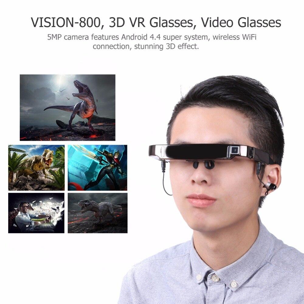 VISION-800 Smart Android WiFi 3D VR lunettes virtuelles grand écran vidéo lunettes Bluetooth Portable théâtre privé avec 5 MP Camer