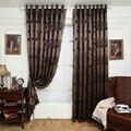 Geometria painel cortina da janela cortinas para sala de estar cortina tecidos marrom semi-blackout cortinas do quarto