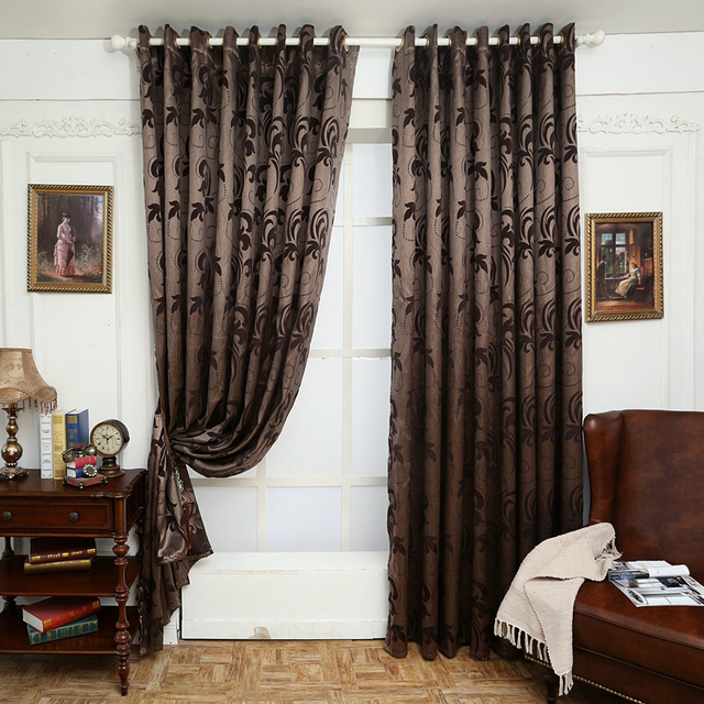 Geometry curtains for living room curtain fabrics brown window ...