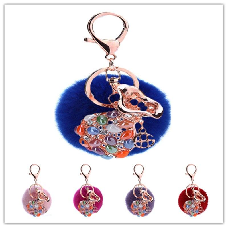 Fashion Pendant Key Chains 3PCS/Lot Rhinestone Metal Money Wallet Pendant Decorated Fur Ball Keyrings Girl Lady Handbag Decor