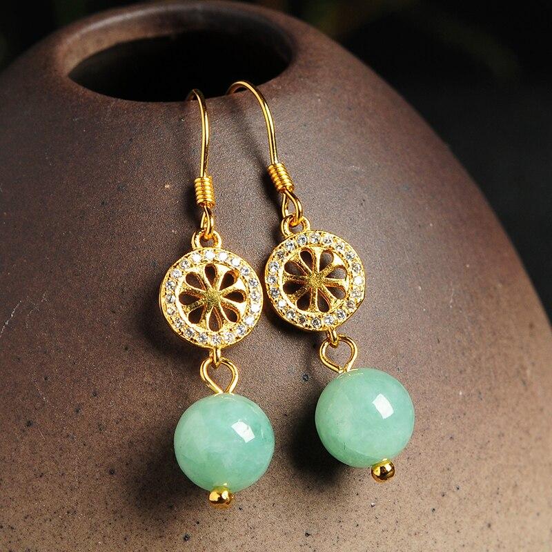 New Arrival 925 Sterling Silver Green Beads Women's Dangle Earrings цена