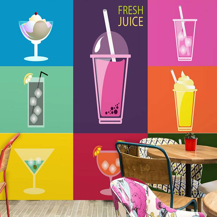 Free Shipping Fresh summer fruit juice lounge wallpaper tea shop snack ice cold store restaurant wallpaper mural