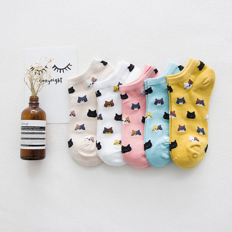 New Pattern Lovely Kitty Full Cotton Ma'am Boat Socks Pure Cotton Sweat Ventilation Low Help Short Socks