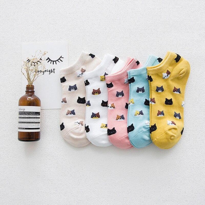 New Pattern Lovely Kitty Full Cotton Ma'am Boat Socks Pure Cotton Sweat Ventilation Low Help Short Socks