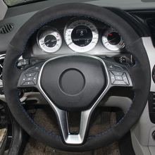 XuJi Black Suede Hand-stitched Car Steering Wheel Cover for Mercedes Benz B180 2012