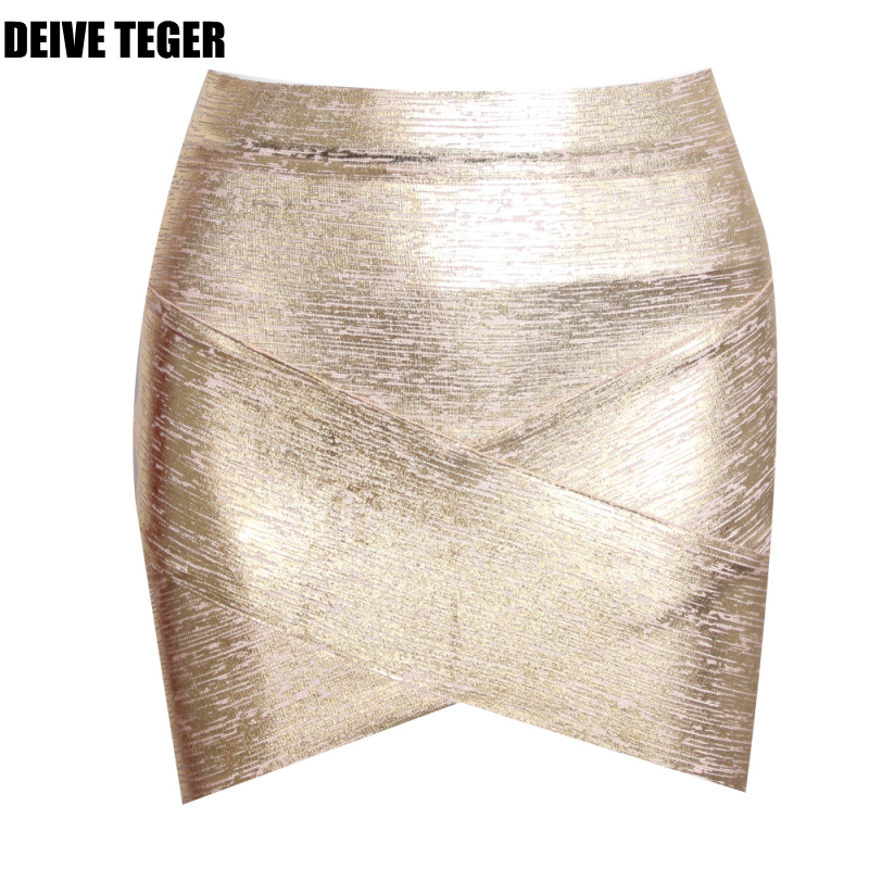 DEIVE TEGER mini slim sexy  Fashion Women V Silver yellow Bandage Women Skirts HL067
