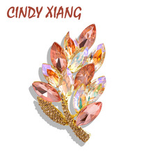 CINDY XIANG Crystal Leaf Brooches For Women Shining Colorful Summer Pin Wedding Bouquet Brooch Coat Accessories Bag Pins New