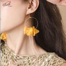 Badu Golden Copper Drop Earrings for Women Big Boho Flower Yarn Dangle Earring Bohemian Jewelry Holiday Wholesale