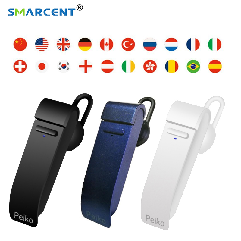 Nueva inteligente Multi-idioma instantánea discurso traductor voz con auricular bluetooth inalámbrico traductor simultaneo para reunión