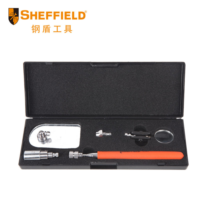 SHEFFIELD S117013 5 IN 1 Retractable mirror detection Pick up Magnifier with LED lights Vehicle maintenance tools  цены