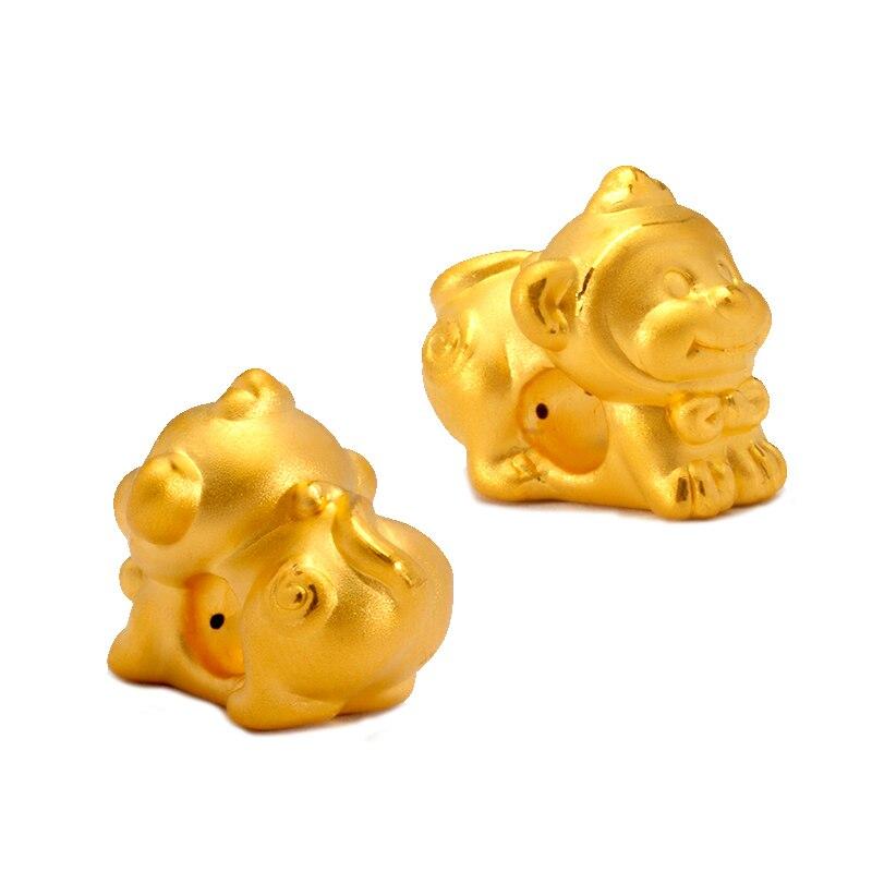 Pur 24 K or jaune zodiaque bracelet mignon 3D designer animal armure chaîne bracelet 1 pièces seulement pendentif 1-1.3g
