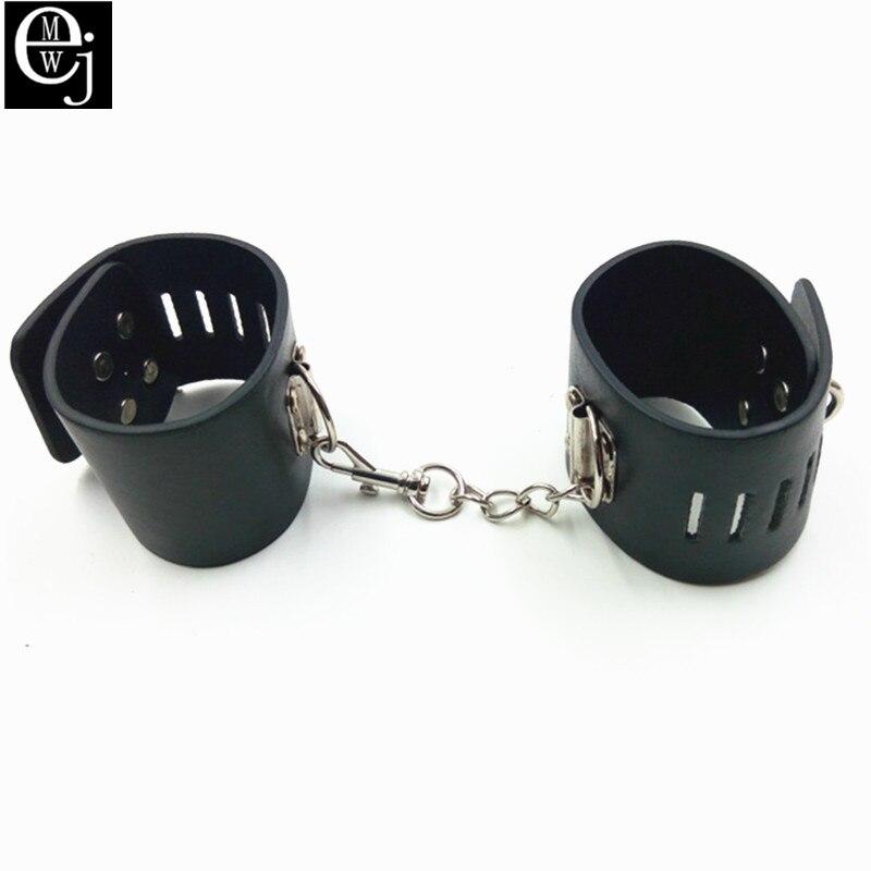 Buy Black PU Leather Handcuffs Lock Sex Fetish Bondage Restraints Wrist Hand Cuffs Sex Toys Couples Adult Games ELDJ117