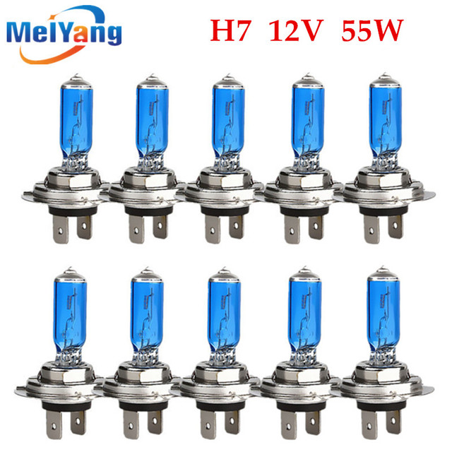 10pcs h7 55w 12v super bright white fog lights halogen bulb high10pcs h7 55w 12v super bright white fog lights halogen bulb high power car headlights lamp