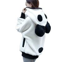 Cute Bear Ear Panda Winter Warm Hoodie Sweatshirts Women Hooded Outerwear Hot Sale Autumn&Winter Daily Warm collocation Outfit