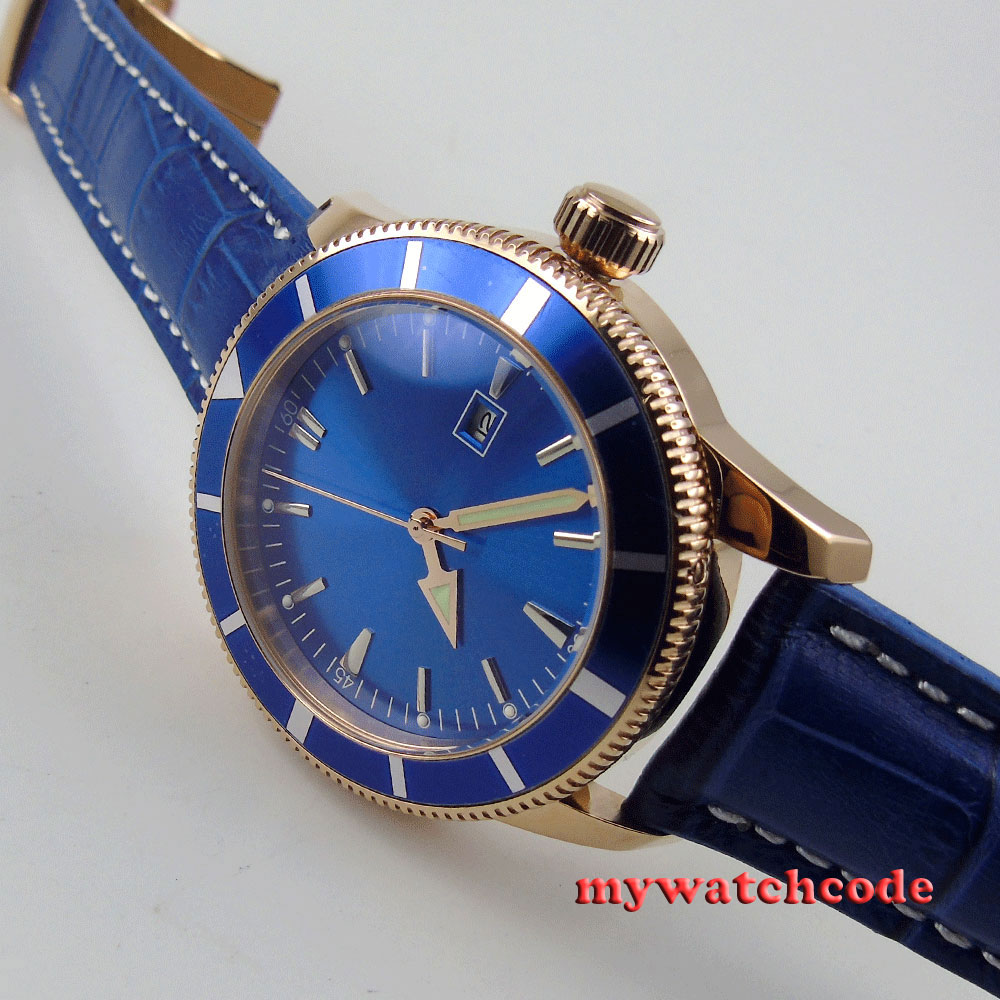 46mm corgeut blue dial date rose golden case automatic mens watch 16