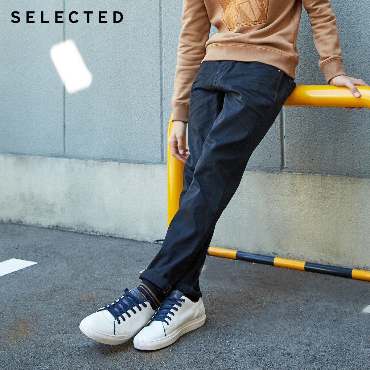 SELECTED Men's Autumn & Winter Fit Jeans Clothes Stretch Cotton Straight Denim Pants C | 418432526
