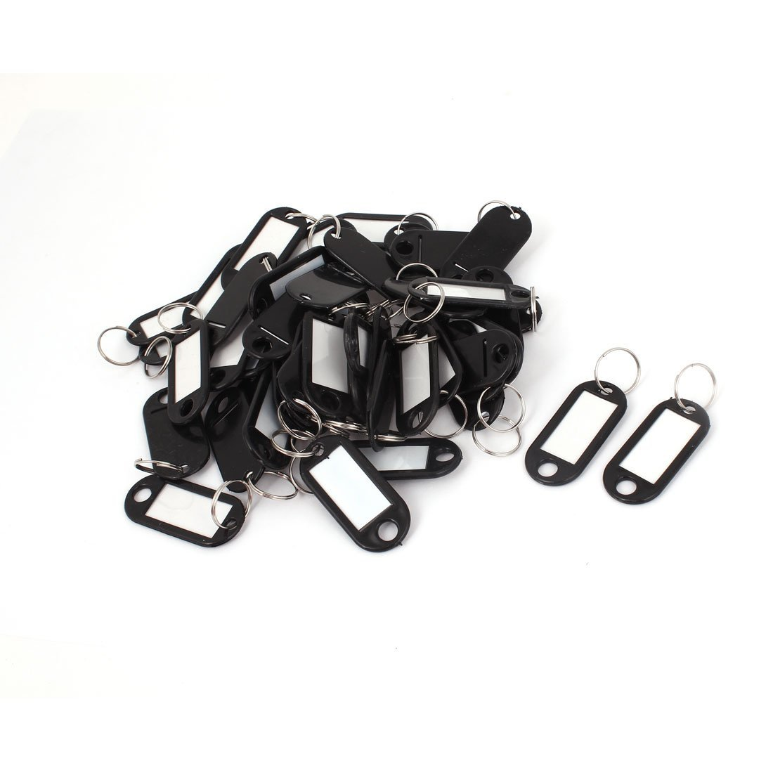 50pcs Plastic Luggage ID Card Name Tag Label Clip Holder Keyring Black ...