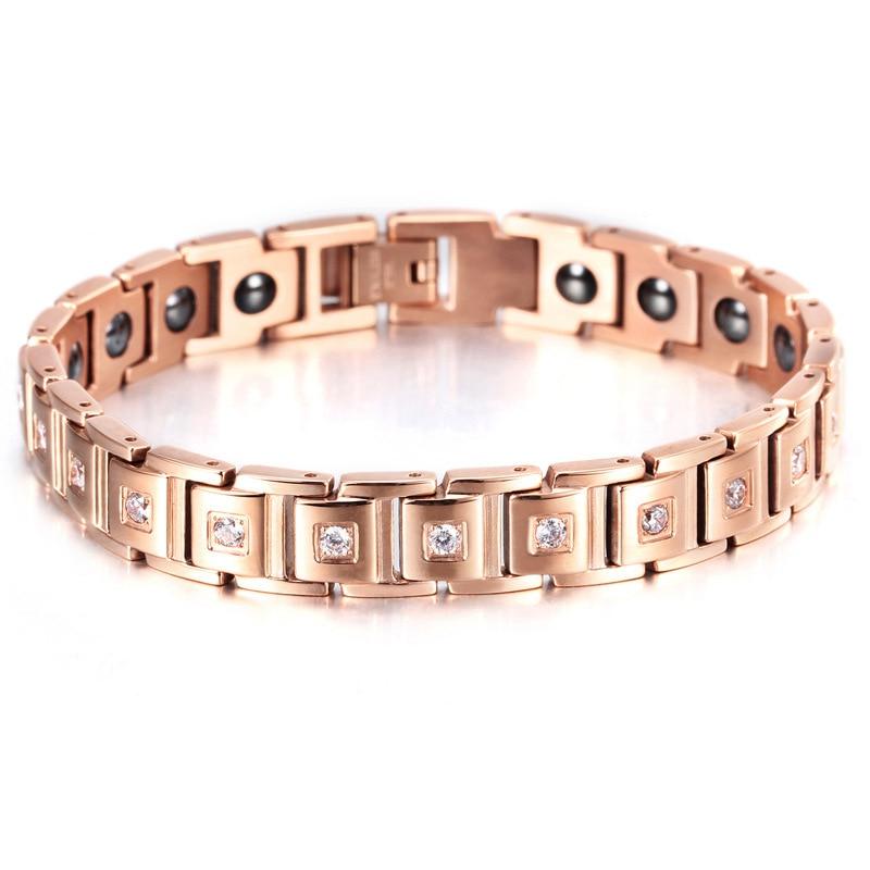 Titanium Letter shape power energy health bracelet 4 in 1 magnetic germanium healthy bracelet for women