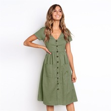 Multicolor summer fashion new womens sexy v-neck button wild pocket short-sleeved dress 0864