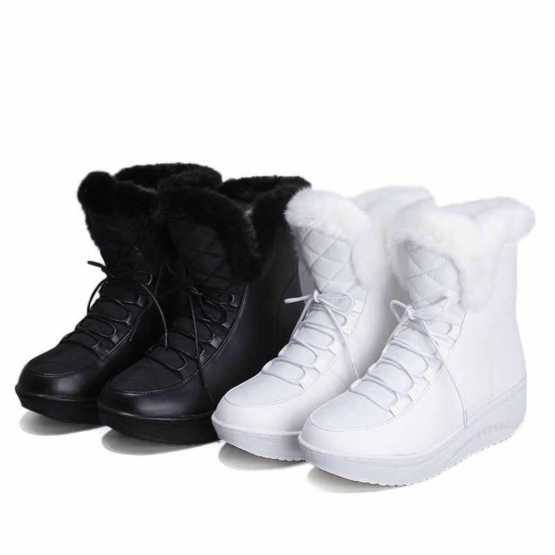 ESVEVA 2020 Kama Med Topuk Kadın Ayakkabı Kış Aşağı + PU yarım çizmeler Motosiklet Lace Up Sivri Burun Punk Kar Botları boyutu 35-43