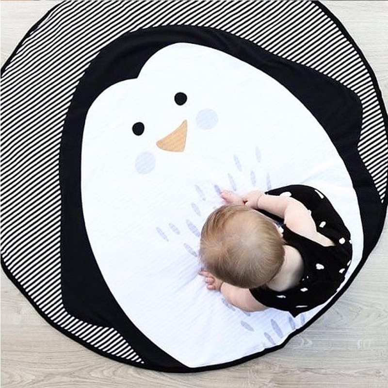 95CM Kids Play Game Mats Round Carpet Rugs Mat Cotton Penguin Crawling Blanket Floor Carpet Toys INS Room Decoration
