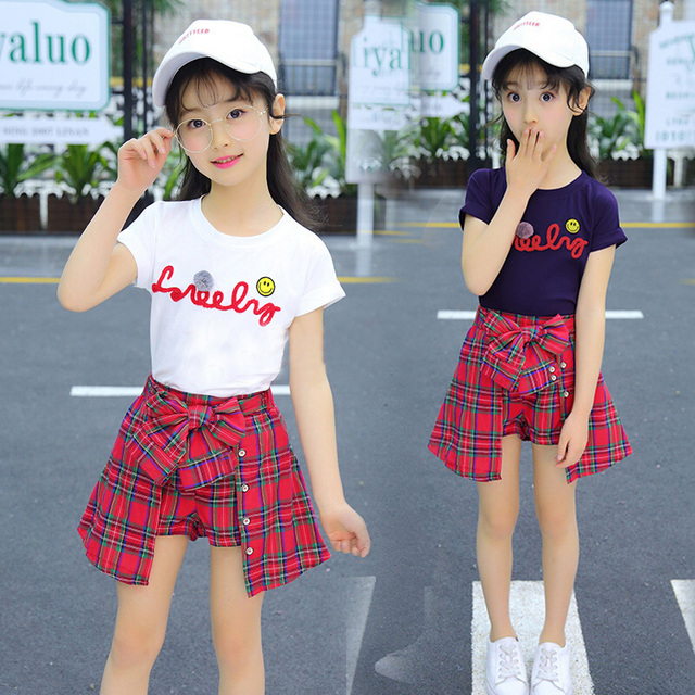 7ff2e7cc70e5b Girls Summer Set 2018 Short Sleeve Trendy Clothing Suit Female Kids Tees +  Plaid Shorts 2 Pcs Children Clothes Shorts 2 Pcs X26