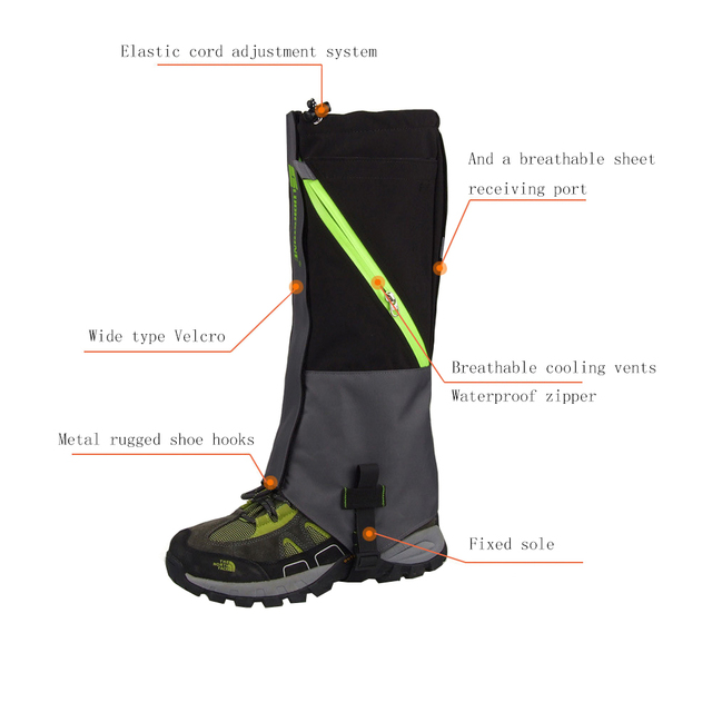 2 Layers Waterproof Camping Hiking Snow Leg Gaiters Boots Outdoor Skate Skiing Walking Shin Leg Protector Leg Support