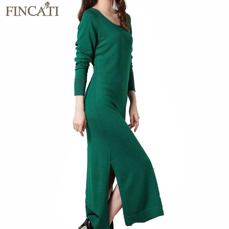 Women Spring Autumn Cashmere Blend Long Dress Elegant Hem Split O Neck Solid Color Cinched Waist Soft Skin Friendly Dresses