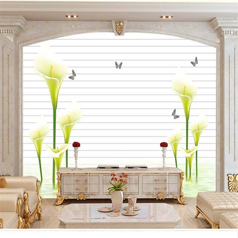 Custom Modern 3d Wallpaper for Living Room Calla Lily Butterfly 3d Wall Paper TV Background Wall Mural Wallpaper Living Room book knowledge power channel creative 3d large mural wallpaper 3d bedroom living room tv backdrop painting wallpaper