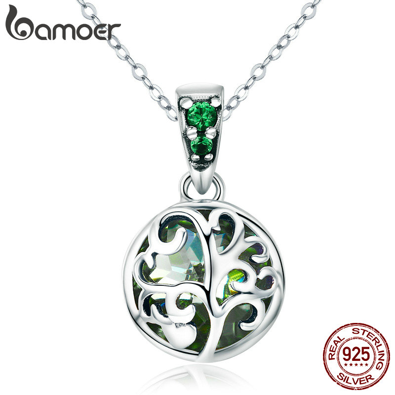 BAMOER 100% 925 Sterling Silver Green Crystal Tree of Life Tree Leaves Pendant Necklace for Women Silver Necklace Jewelry SCN197 цена