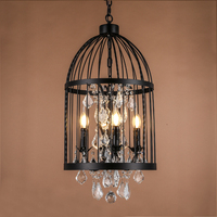 Retro Vintage French Empire Style Rust Wrought Iron Cage Chandeliers E14 Large Crystal Chandelier Lamp Hardware