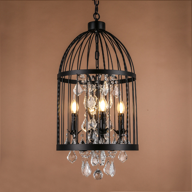 Retro Vintage French Empire Style Rust Wrought Iron Cage Chandeliers E14 Large Crystal Chandelier Lamp