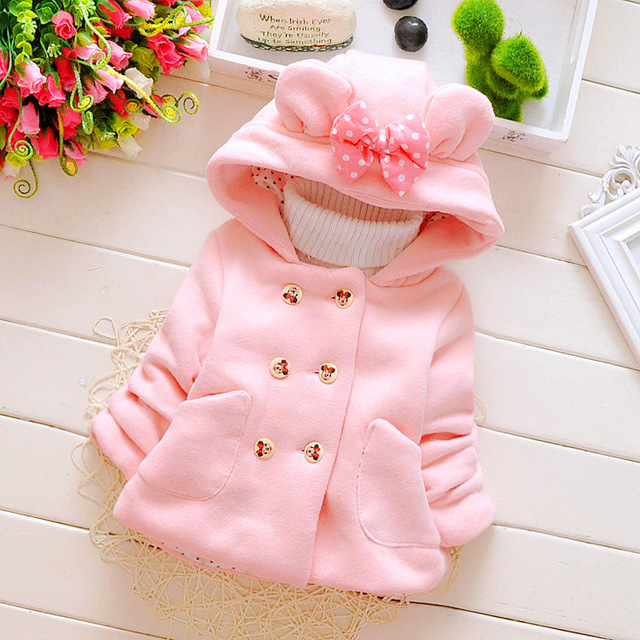 2016 nova primavera e outono do bebê da menina do algodão casaco grosso arco trespassado jaqueta com capuz para crianças 1-4 anos da marca frete grátis
