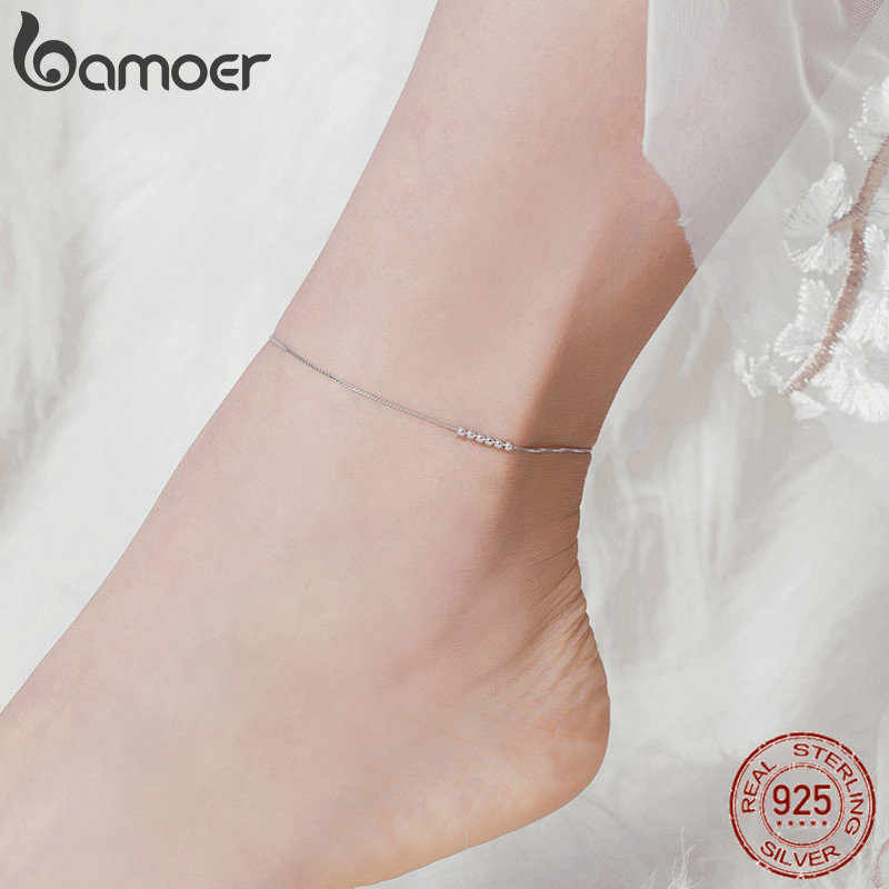 Bamoer เงินขนาดเล็กลูกปัด Anklets สำหรับผู้หญิง Beaded ฤดูร้อนเงินสเตอร์ลิง 925 เครื่องประดับสไตล์แฟชั่นขาสร้อยข้อมือ SCT007